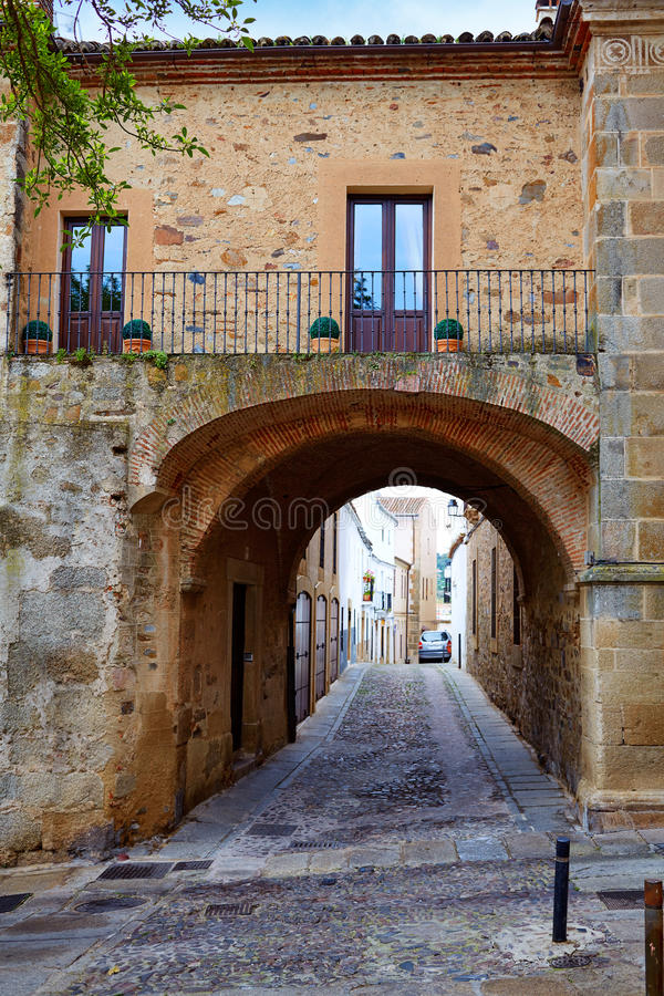 Caceres Puerta de Coria door Spain Extremadura. Caceres Puerta de Coria door Spain arch in Extremadura royalty free stock photography