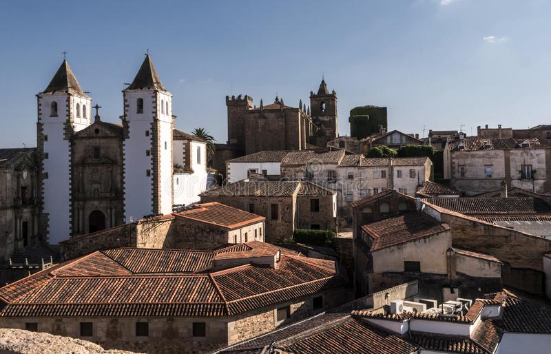 Panoramic view of the Old Town, Santa Maria`s Cathedral, romanti stock images
