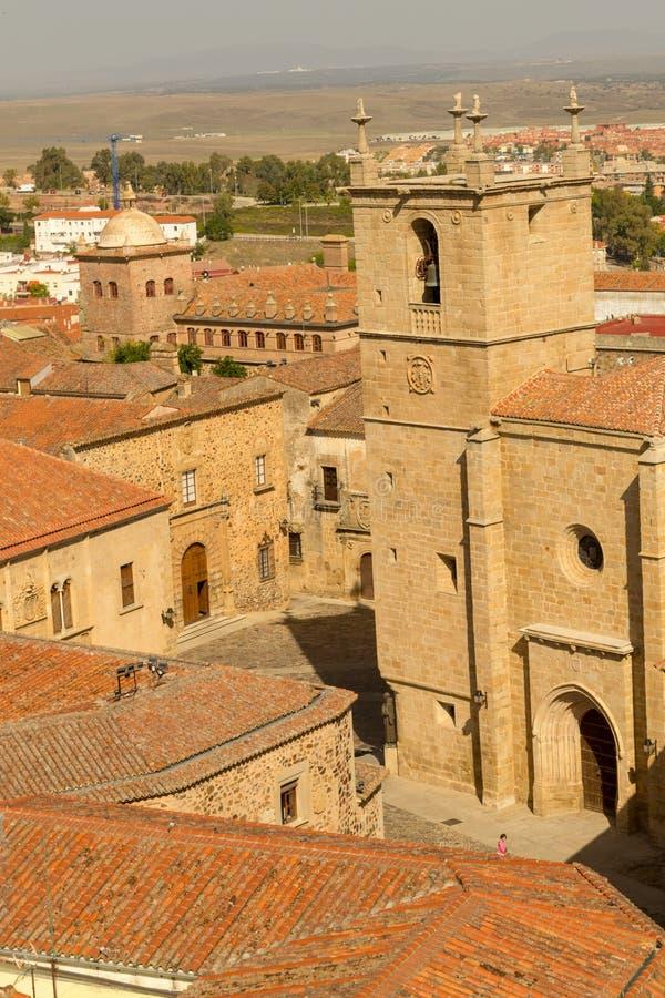 Caceres van de binnenstad vanaf de bovenkant royalty-vrije stock foto