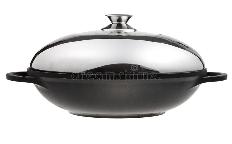 cacerola Aplanador-basada del wok cubierta por la tapa del metal fotografía de archivo libre de regalías