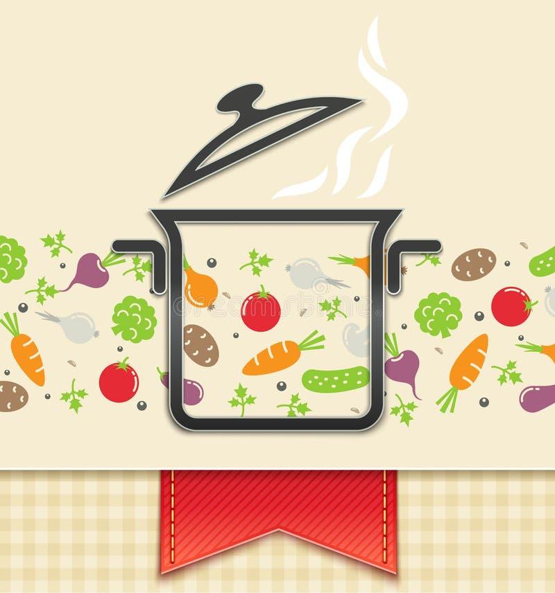 Cacerola con el vehículo, fondo del alimento libre illustration