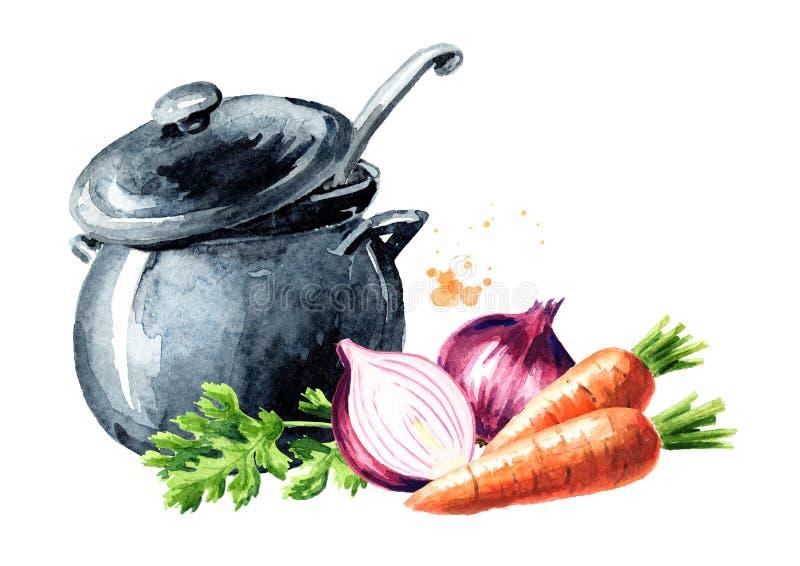 Cacerola con las cebollas del caldo y de las verduras frescas, las zanahorias y los verdes Ejemplo dibujado mano de la acuarela,  ilustración del vector