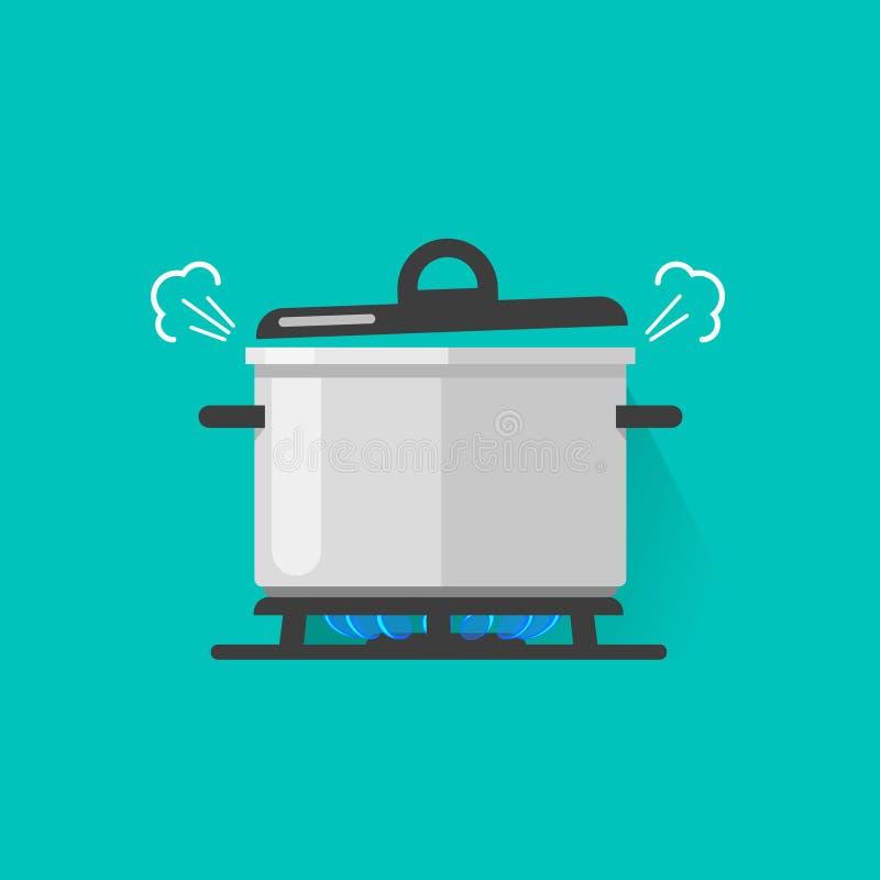 Cacerola con vapor en el fuego de la estufa de gas que cocina un poco de cazo aislado, plano de ebullición del ejemplo del vector ilustración del vector