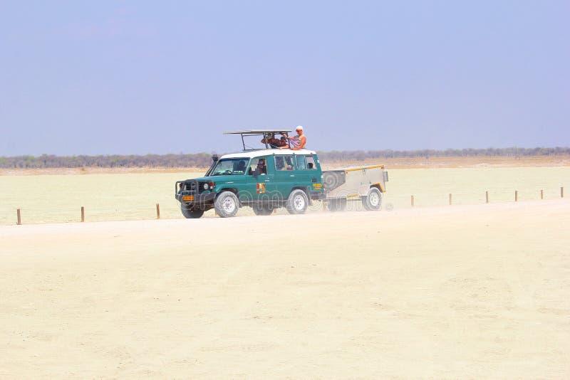 Cacerola de Etosha de los turistas del grupo del jeep del safari, Namibia imagen de archivo