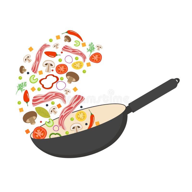 Cacerola, tomate, paprika, pimienta, seta y tocino del wok Alimento asiático Verduras del vuelo con tocino del cerdo Vector plano ilustración del vector