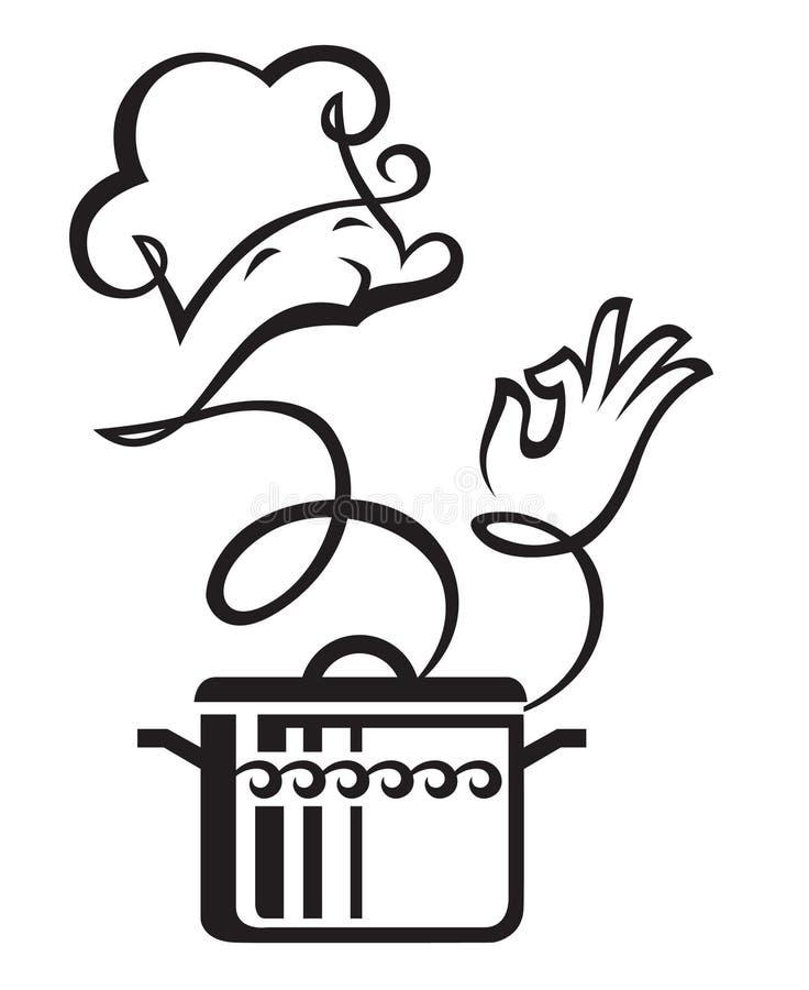 Cacerola y cocinero ilustración del vector