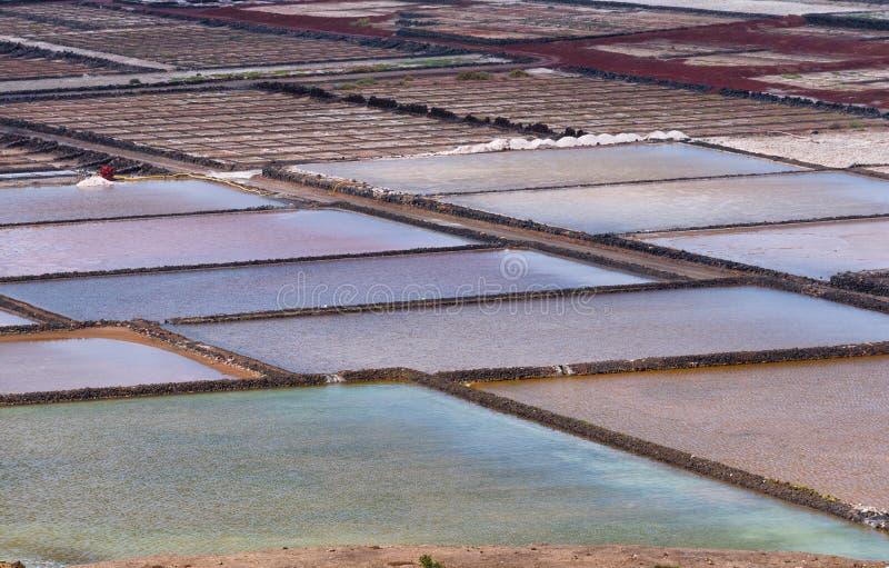 Cacerolas coloridas de la planta de la sal, Lanzarote, España fotografía de archivo