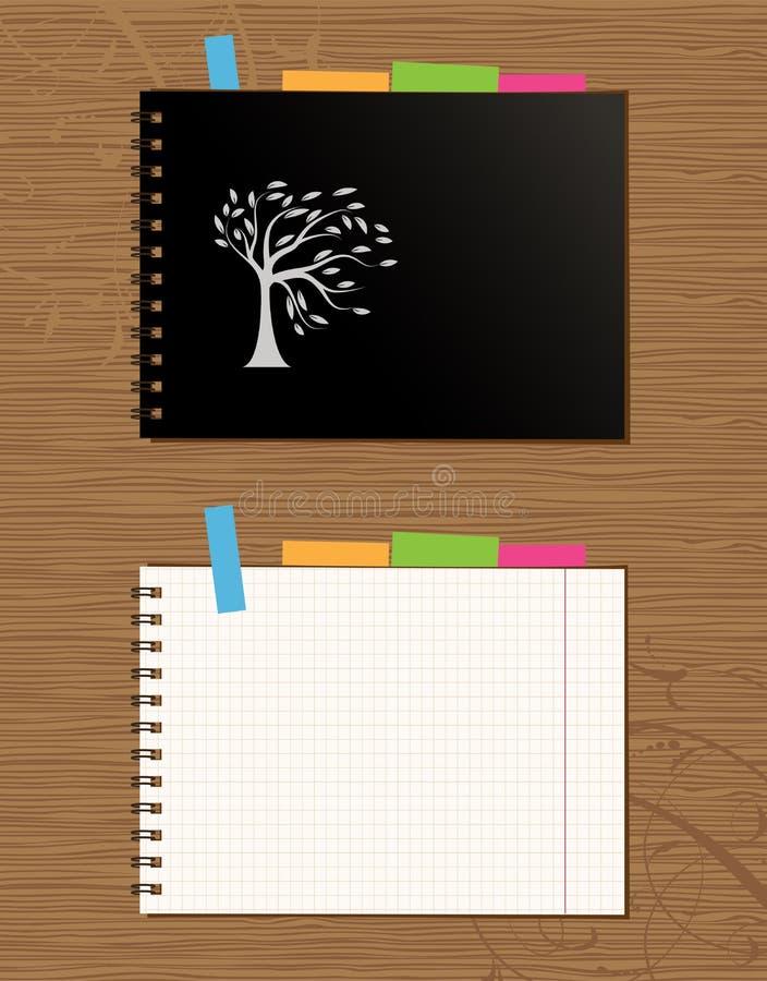 Cache de cahier et page, fond en bois illustration stock