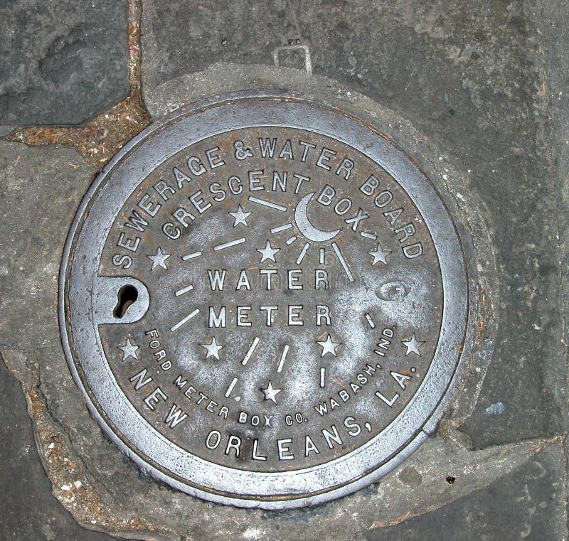 Cache de mètre d'eau de la Nouvelle-Orléans photos stock