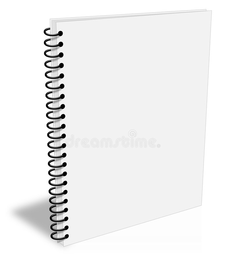 Cache vide fermé blanc d'ebook de carnet de notes à spirale illustration stock