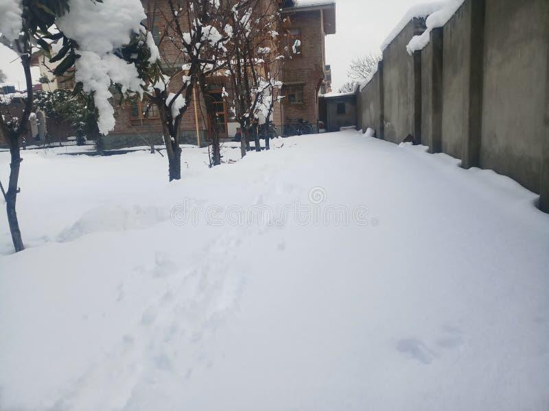 Cachemira bajo year& x27; nevadas de s primer fotos de archivo