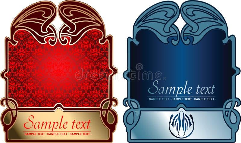 Caches rouges et bleus d'or. illustration stock