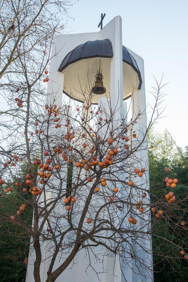 Cachi congelato dal campanile della chiesa della st Petka in Rupite, Bulgaria fotografie stock libere da diritti