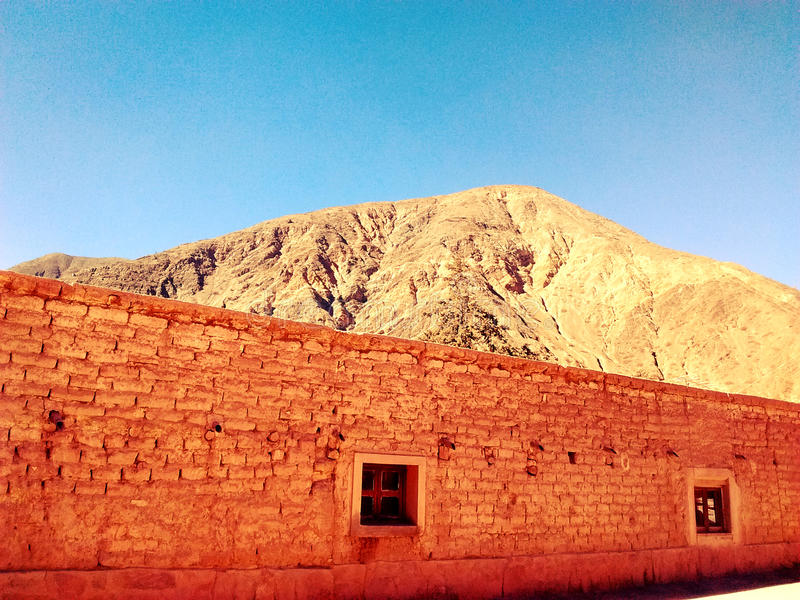 Cachi, Salta. Photo of a nearbound hill in Cachi , Salta, Argentina. A small village filled with old constructions like the one in the pictrure royalty free stock image