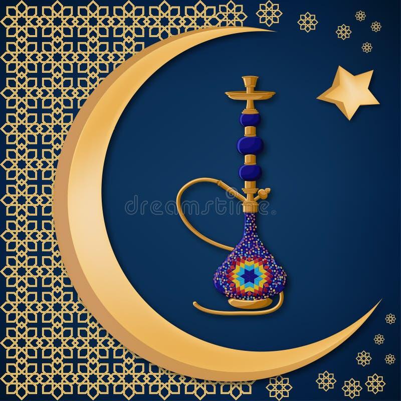 Cachimbo de água azul cerâmico turco tradicional com decoração oriental, lua, e estrela na obscuridade - fundo azul ilustração do vetor