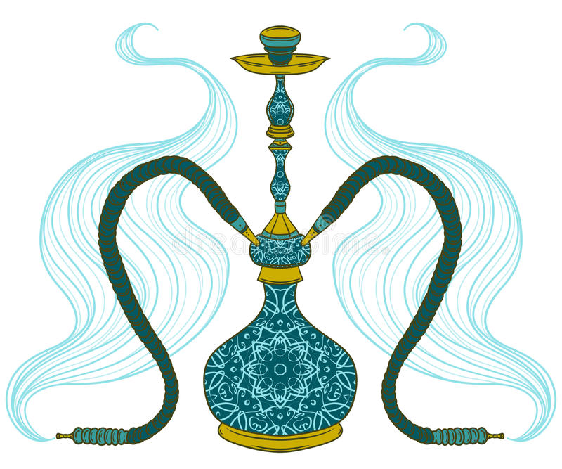 Cachimbo de água com teste padrão e fumo árabes ilustração do vetor