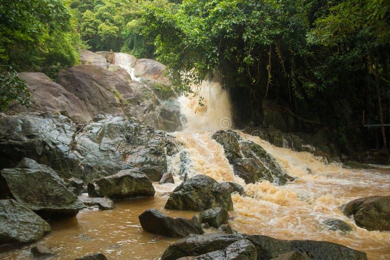 Cachoeira afluente na estação da chuva na ilha Koh Samui, Tailândia fotos de stock