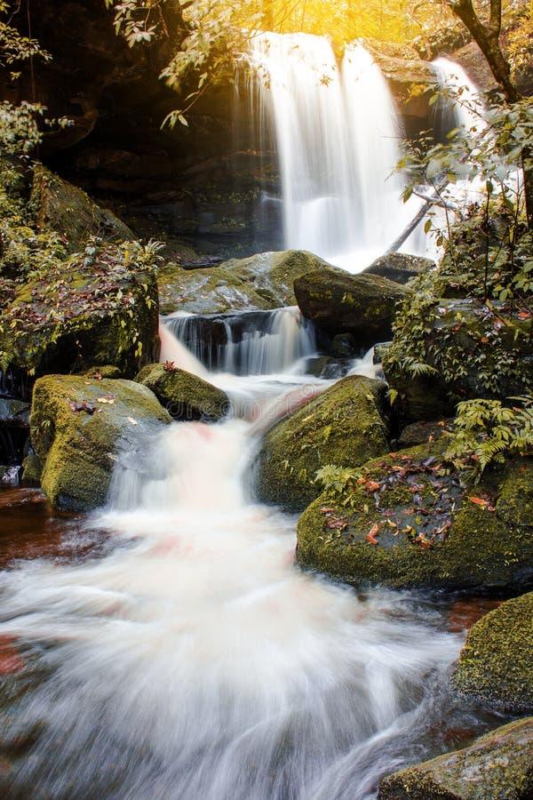 A cachoeira bonita da foto da paisagem na floresta Thailan do outono foto de stock