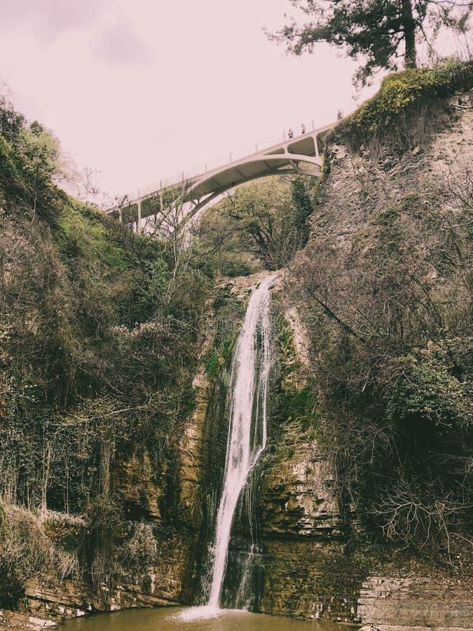 Cachoeira bonita da montanha com um córrego de queda da água que flui de debaixo de uma ponte em um penhasco coberto de vegetação foto de stock royalty free