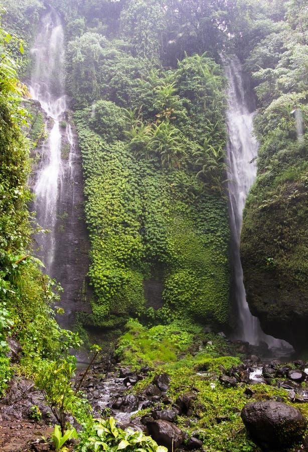 Cachoeira bonita de Sekumpul - Bali, Indonésia fotos de stock royalty free