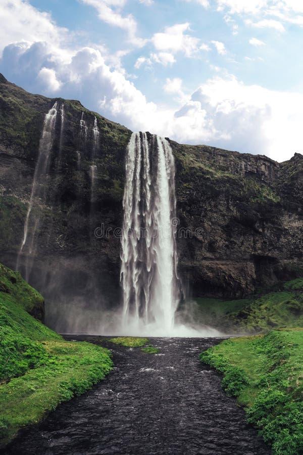 Cachoeira bonita de Seljalandsfoss em Isl?ndia fotografia de stock