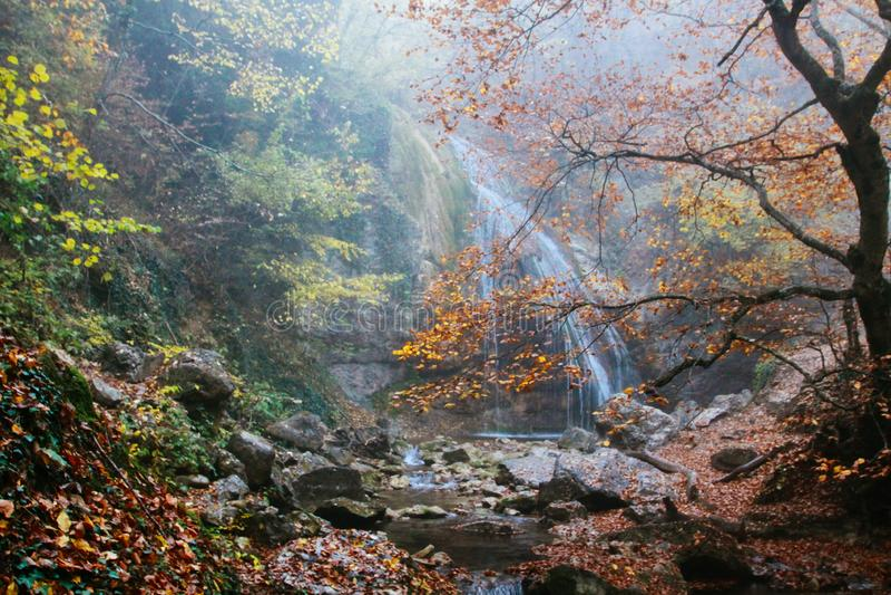 Cachoeira bonita na floresta do outono em montanhas crimeanas Pedras com musgo na ?gua foto de stock