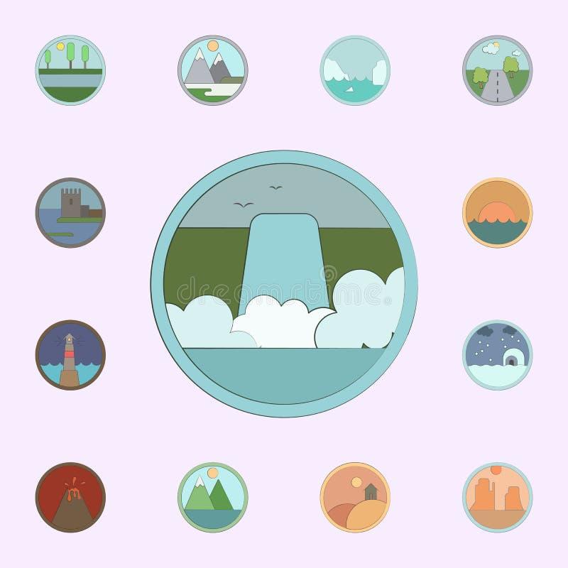 Cachoeira colorida no ?cone do c?rculo grupo universal dos ?cones das paisagens para a Web e o m?bil ilustração do vetor
