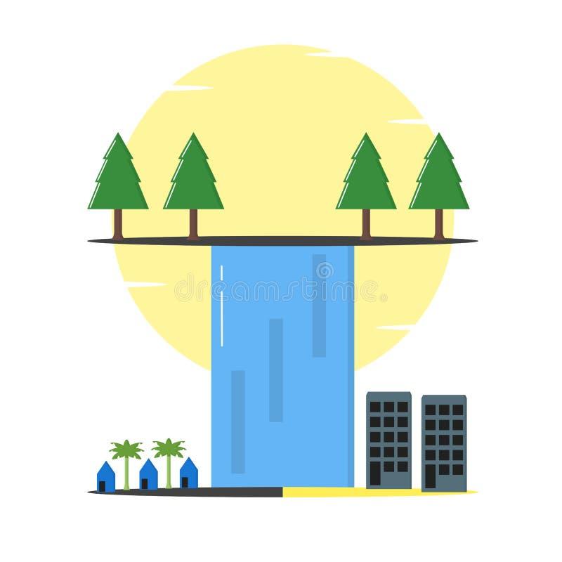 Cachoeira com árvores da paisagem, casas, ilustração das construções - vetor ilustração royalty free
