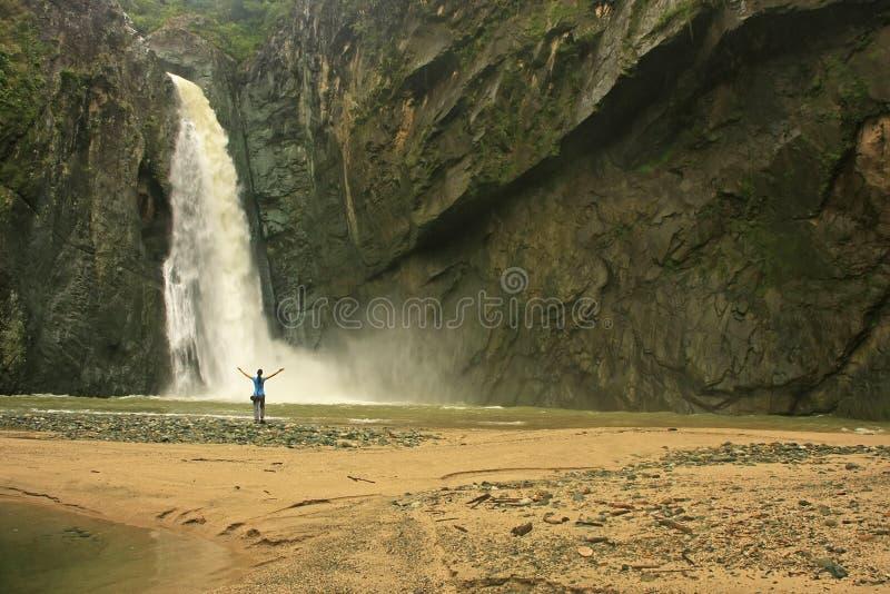 Cachoeira da ONU de Salto Jimenoa, Jarabacoa fotos de stock royalty free