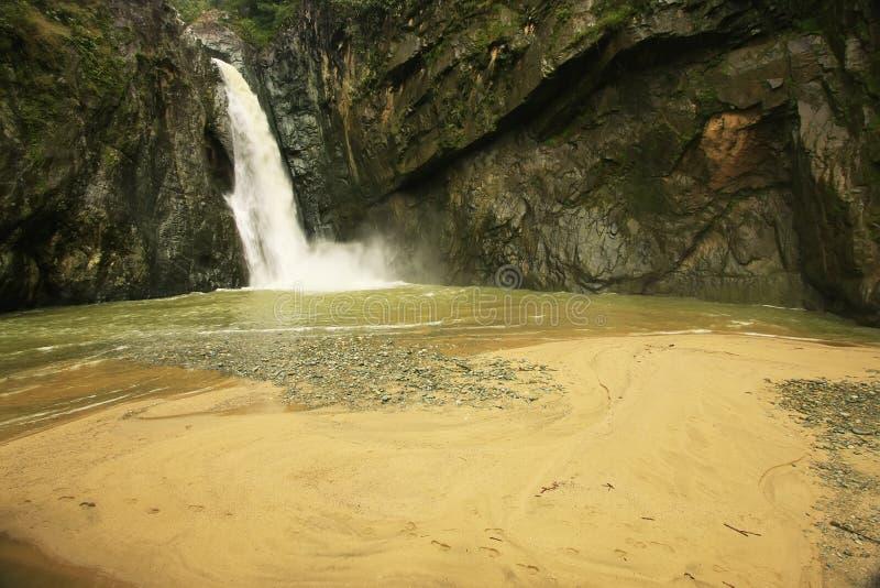 Cachoeira da ONU de Salto Jimenoa, Jarabacoa fotografia de stock