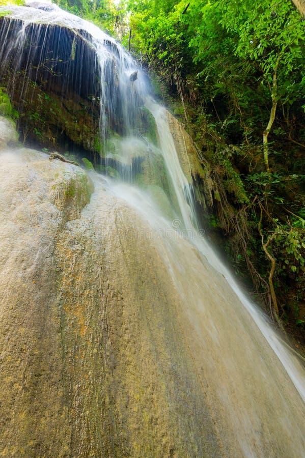 Cachoeira da pedra calcária na floresta verde imagem de stock