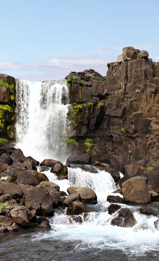 Cachoeira De Öxarárfoss No Parque De Thingvellir, Islândia Fotografia de Stock Royalty Free