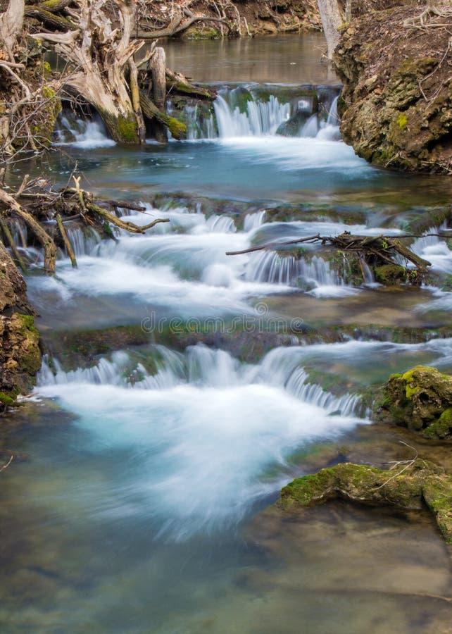 Cachoeira de conexão em cascata do córrego da truta da montanha - Virgínia, EUA fotografia de stock royalty free