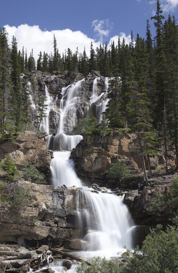 Cachoeira de conexão em cascata em Montanhas Rochosas canadenses foto de stock royalty free