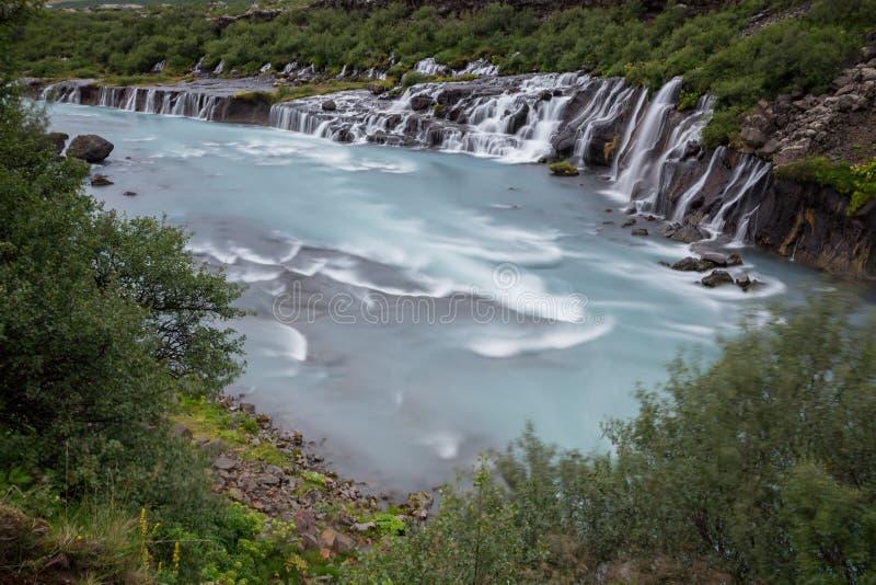 Cachoeira de Hraunfossar imagem de stock