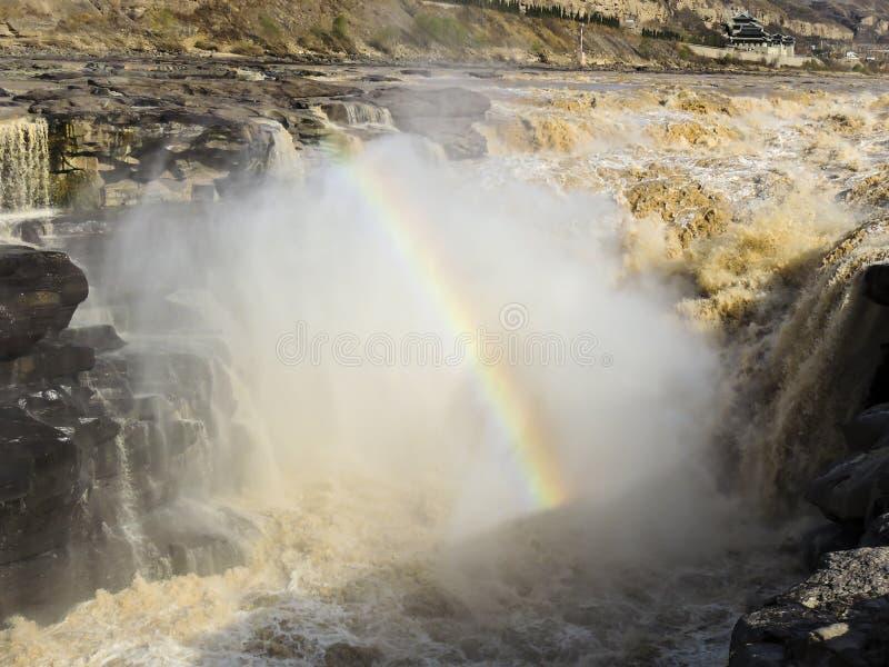 Cachoeira de Hukou, a queda a maior da água no Rio Amarelo foto de stock
