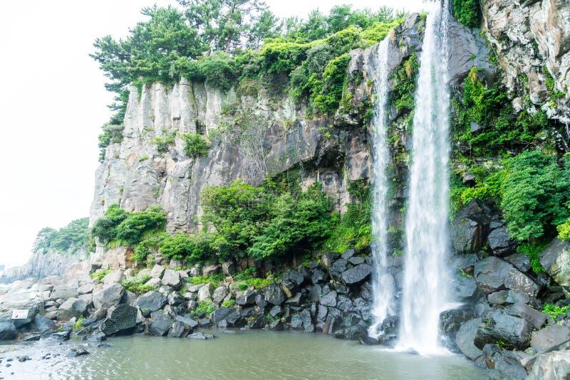 Cachoeira de Jeongbang na ilha de Jeju fotografia de stock