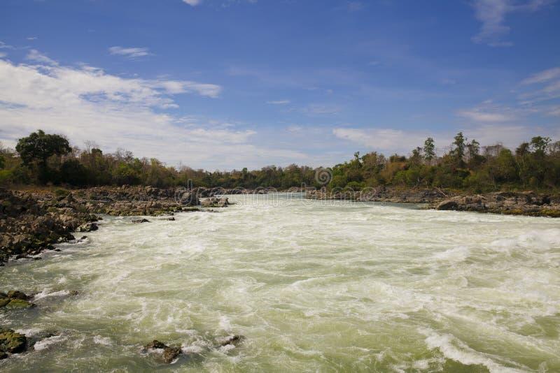 Cachoeira de Khone Phapheng imagem de stock