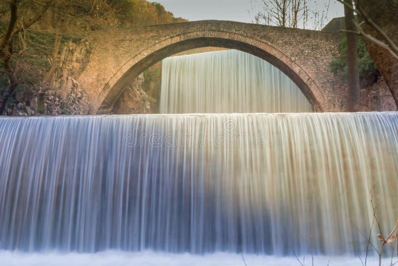 Cachoeira de Palaiokaria em Grécia Um destino turístico famoso imagem de stock royalty free