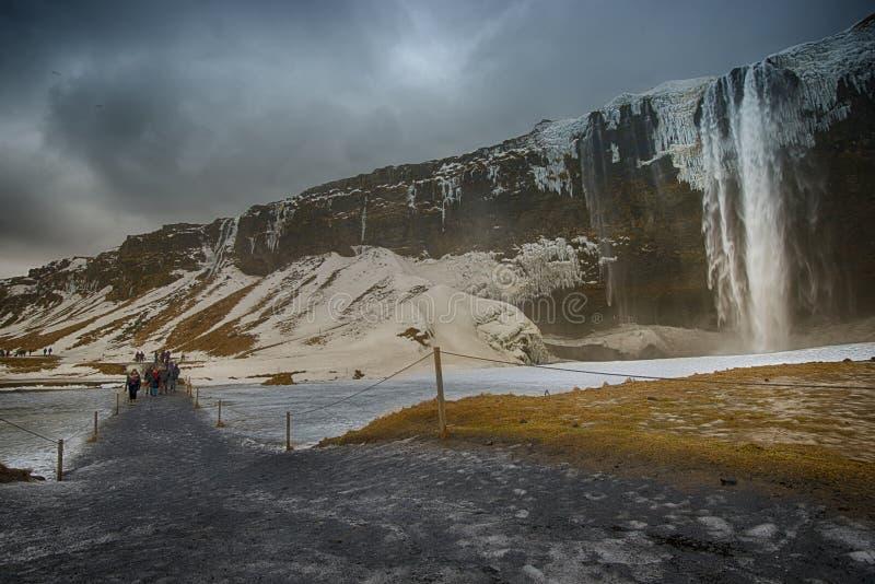 Cachoeira de Seljalandsfoss imagens de stock