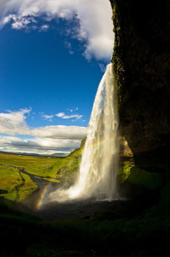Cachoeira de Seljalandsfoss do rio Seljalandsa, Islândia sul fotografia de stock