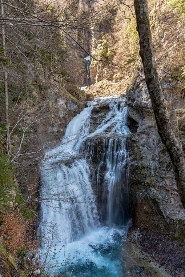 Cachoeira de surpresa no parque nacional de Ordesa e em Monte Perdido Ordesa Valley, província de Huesca, Espanha imagem de stock royalty free