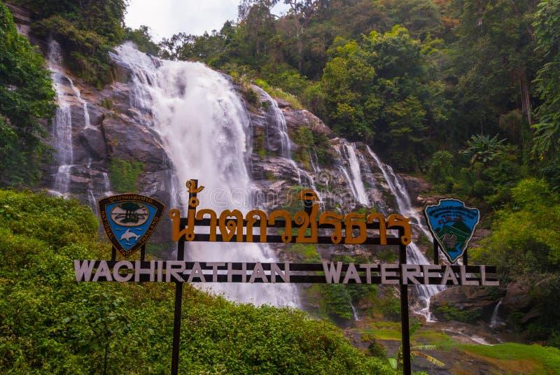 Cachoeira de Wachirathan, Tail?ndia foto de stock
