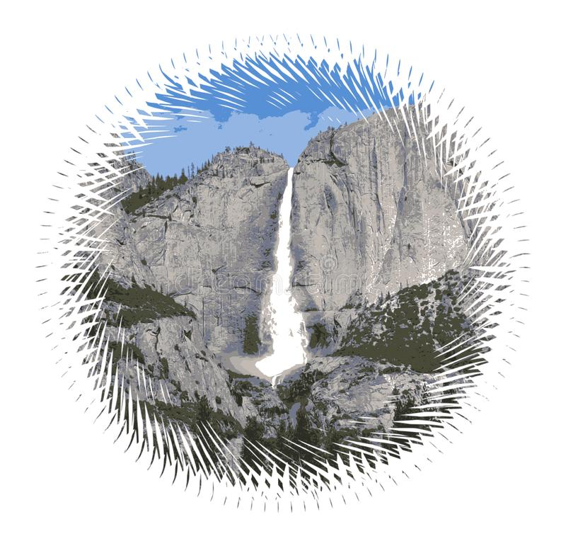 Cachoeira de Yosemite, parque nacional dos E.U. ilustração royalty free