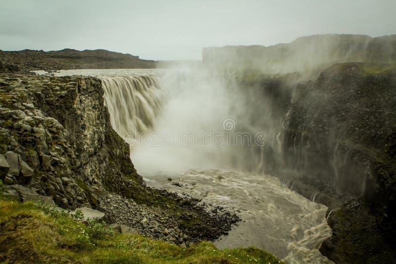Cachoeira - Dettifoss e Hafragilsfoss imagens de stock royalty free