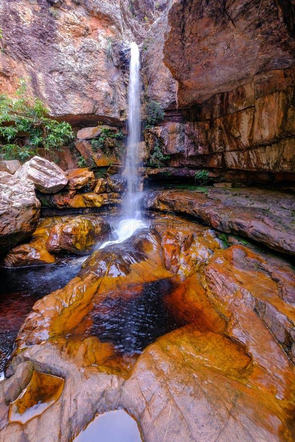 Cachoeira a Dinamarca primavera, cachoeira da mola, parque nacional de Chapada Diamantina, Lencois, Baía, Brasil, Ámérica do Sul fotos de stock royalty free