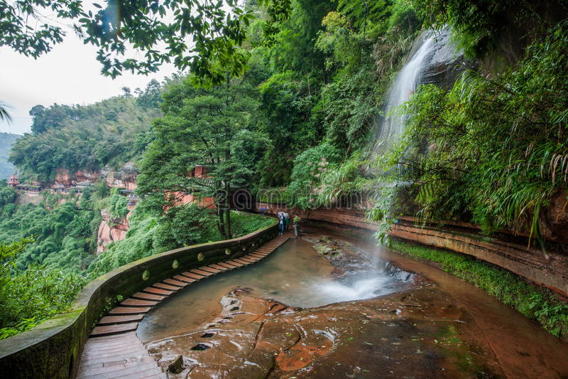 Cachoeira do voo na floresta de bambu da área de mar de bambu dentro imagens de stock royalty free