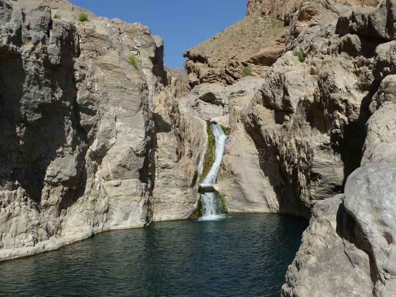Cachoeira dos oásis de Omã imagens de stock