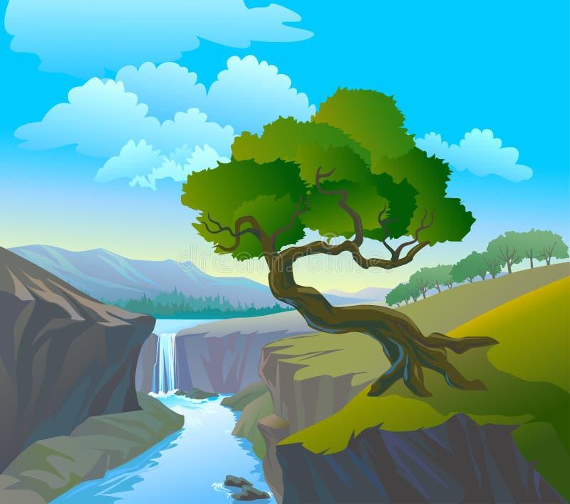Cachoeira e árvore bonitas ilustração royalty free
