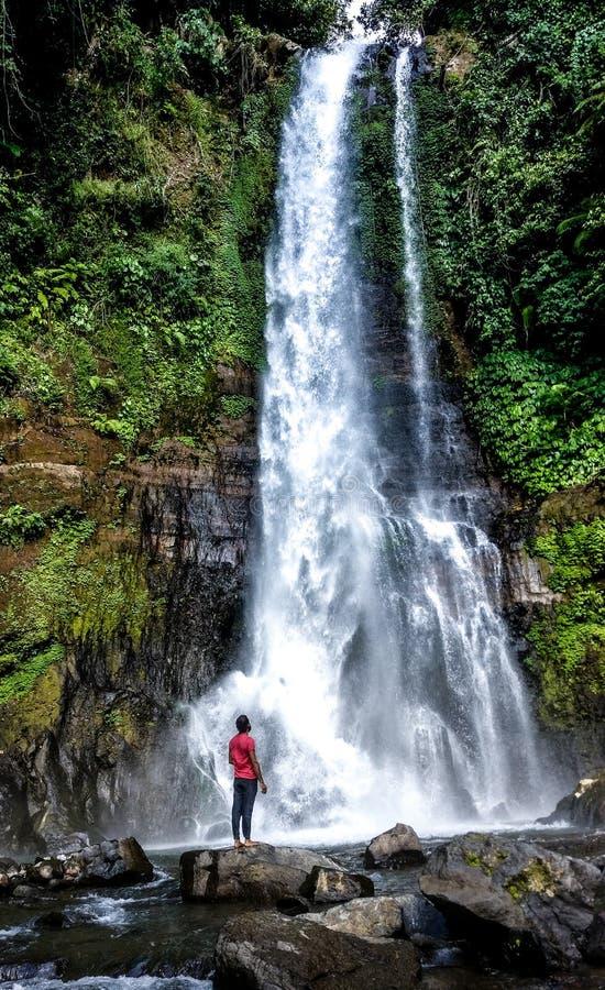 Cachoeira e homem na perspectiva imagem de stock